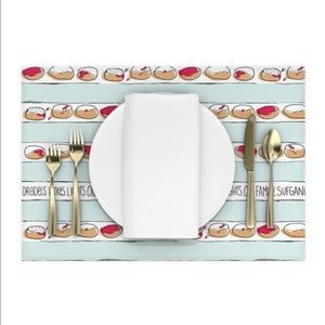 Hand illustrated Hanukkah tablecloth and placemats